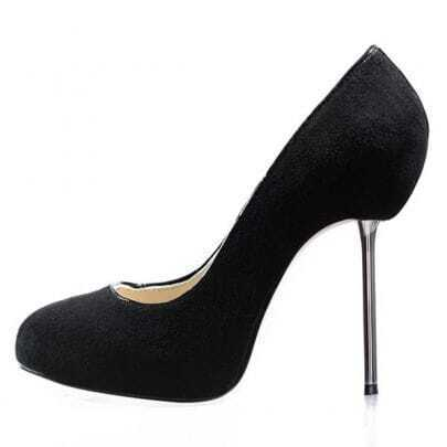 Black Suede Metal Root Iron Heels Pumps