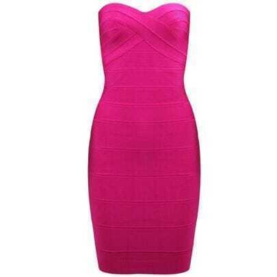 Strapless Bandage Dress Rose