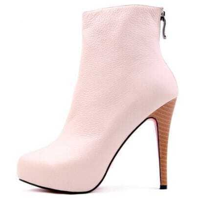 Back Zip Pink Leather Boot