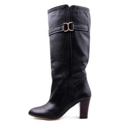 Black Leather Midhigh Boot