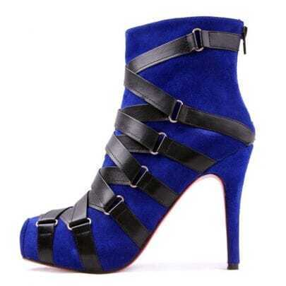 Nitoinimoi Strappy Nappa Low Boots Blue Suede