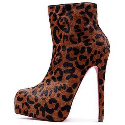 Leopard-print pony skin ankle boots