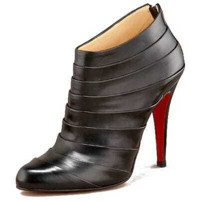 Black Leather Orniron Ankle Boot
