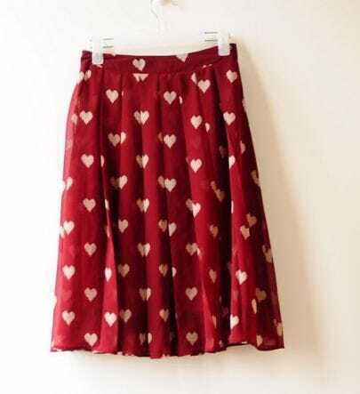 Sweet Red Dot Pleated Chiffon Romantic Skirt