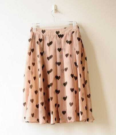 Sweet Beige Dot Pleated Chiffon Romantic Skirt