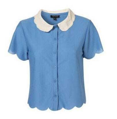 Vintage Blue Waves-edge Short-sleeved Lapel Shirt