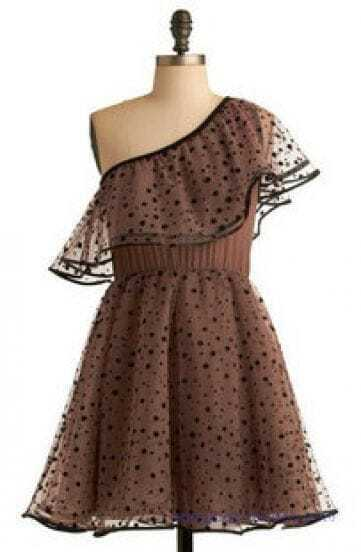 Vintage Dot Lace High Waist One Shoulder Dress