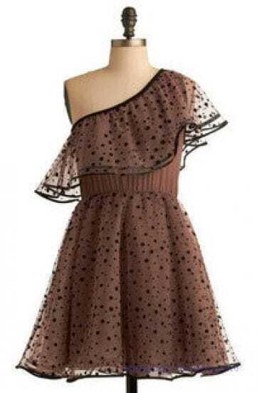 Vintage Dot Lace High Waist One Shoulder Dress