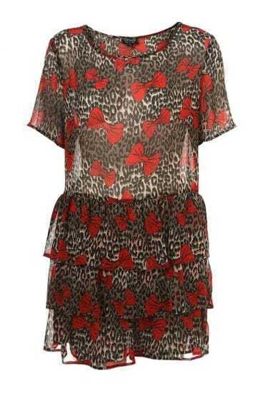 Leopard Print Red Bow Chiffon Dress with Belt