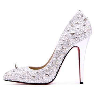Specchio Leather and Strass Silver Pump