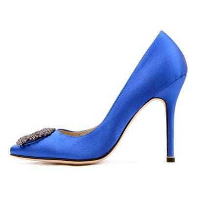 Blue Satin Pump With Jewelry