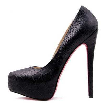 Black 150mm Embossing Leather Pump