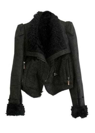Gezuckt Shearling Collar Black Jacket