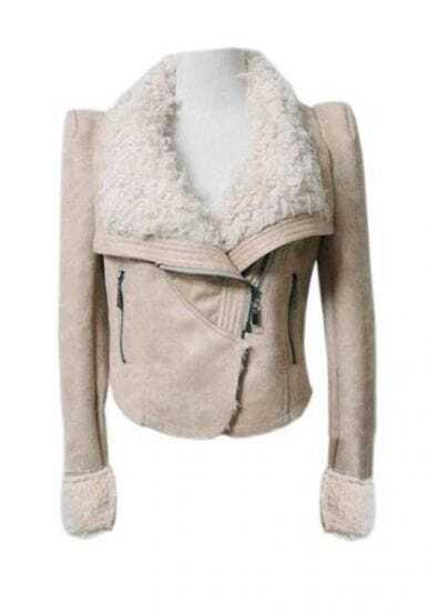 Gezuckt Shearling Collar Beige Jacket