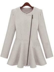 Oblique Zip Wild Beige Coat