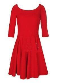 Red Vintage Pleated Mid Sleeve Shift Dress