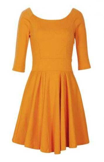 Yellow Vintage Pleated Mid Sleeve Shift Dress