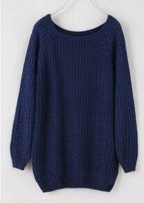 Batwing Puff Sleeve Ginger Jumpers Deep Blue Sweater