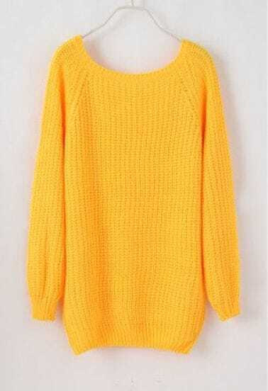 Batwing Puff Sleeve Ginger Jumpers Light Yellow Sweater -SheIn ...