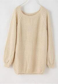 Batwing Puff Sleeve Ginger Jumpers Beige Sweater