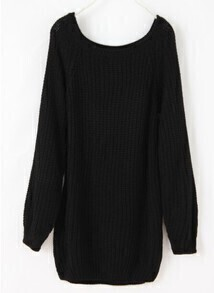 Batwing Puff Sleeve Ginger Jumpers Black Sweater