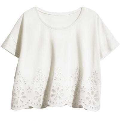 White Crochet Embroidery Scallop Edge Crop T-shirt