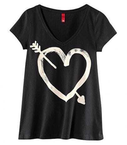 Black V-neck Arrow Of Love Printed Short Sleeve T-shirt