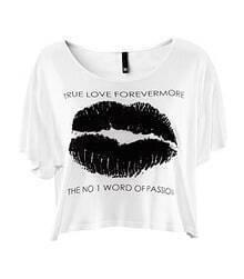 White Lip TRUE LOVE FOREVERMORE Print Short Sleeve T-shirt