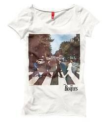 White Beatles Print Short Sleeve T-shirt