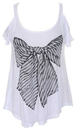 White Bowknot Print Open Shoulder Curved Hem T-shirt