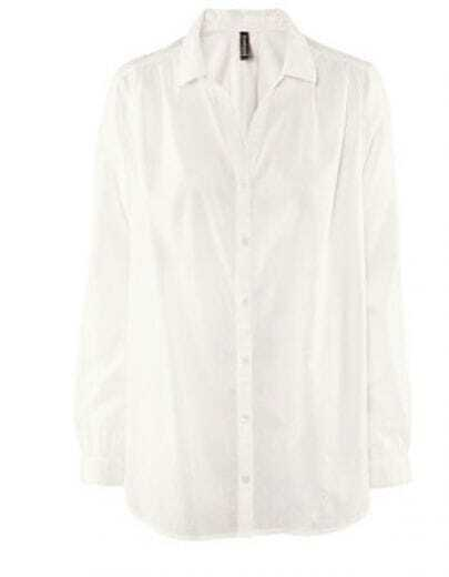 Loose Casual White Cotton Straight V-neck Shirt