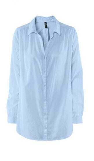 Loose Casual Blue Cotton Straight V-neck Shirt