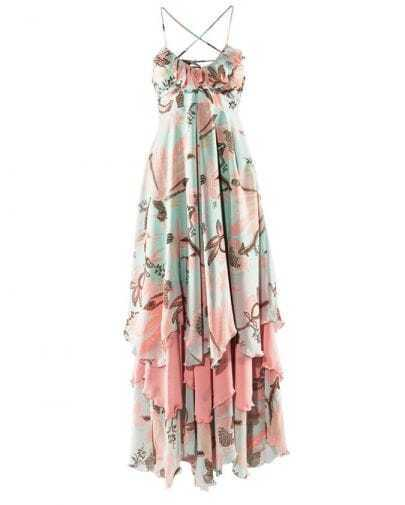 Bohemia Light-green Floral Spaghetti Strap Chiffon Dress