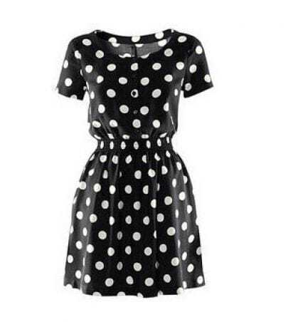 Black Polka Dot Short Sleeve Classic Tunic Dress