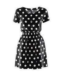 Black Polka Dot Short Sleeve Classic Tunic Dress
