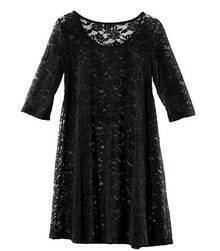 Black Lace Mid Sleeve Round Neck Sheer Dress