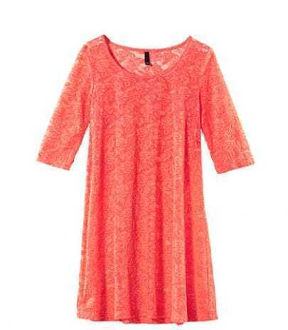 Red Lace Mid Sleeve Round Neck Sheer Dress