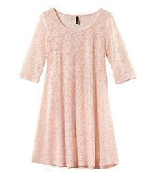 Pink Lace Mid Sleeve Round Neck Sheer Dress