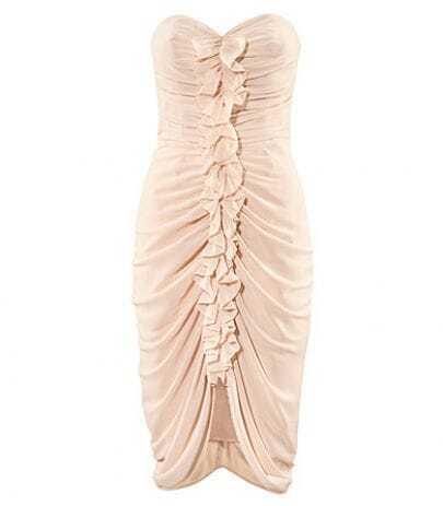 Sexy Nude Flouncing Sheath Strapless Dress