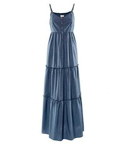 Blue Cotton Spaghetti Strap Maxi Dress