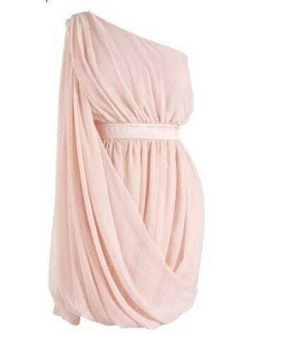 Pink Chiffon One Shoulder Hot Party Dress