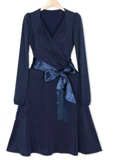 Blue V-neck Elegant Classic Wrap Dress