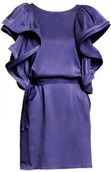 Blue Unique Satin Ruffles Celebrity Dress