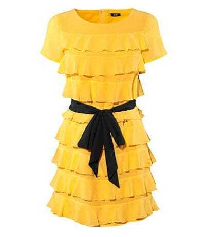 Yellow Polyester Tiered Cute Dress with Belt