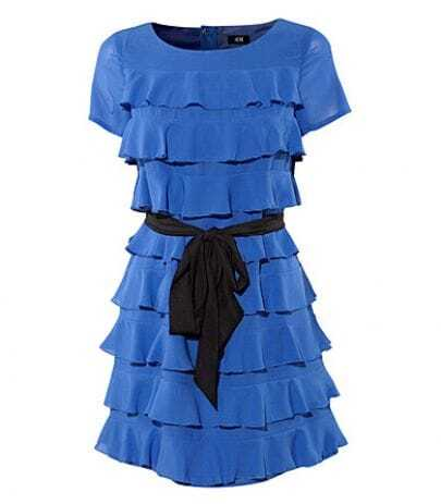 Blue Yellow Polyester Tiered Cute Dress with Belt