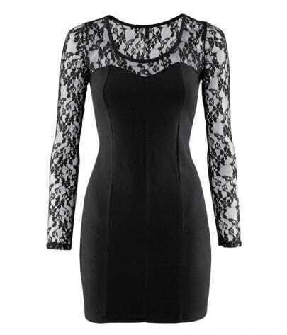 Black Lace Long-sleeved Embroidery Dress