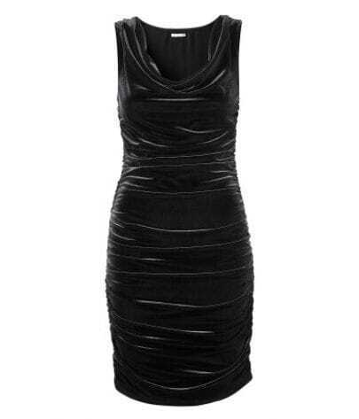 Black Knee-Length Velvet Fitted Ruched Dress