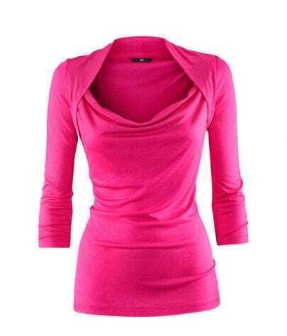Red Shrug Neck Three Quarter Length Sleeve T-shirt