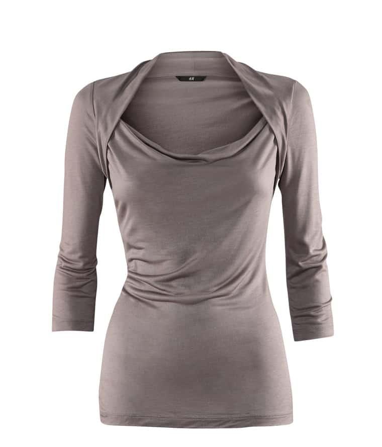 Grey shrug neck three quarter length sleeve t shirt shein for Three quarter length shirt