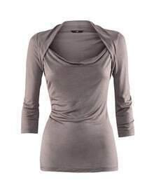 Grey Shrug Neck Three Quarter Length Sleeve T-shirt